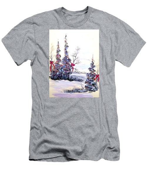 Men's T-Shirt (Slim Fit) featuring the painting Winter Joy by Dorothy Maier