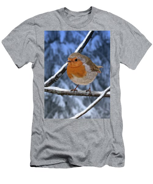 Winter Robin Men's T-Shirt (Athletic Fit)