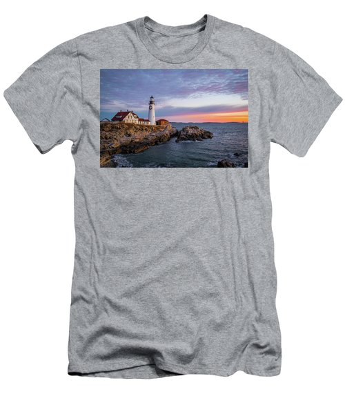 Winter Sunrise Over Portland Head Light Men's T-Shirt (Athletic Fit)