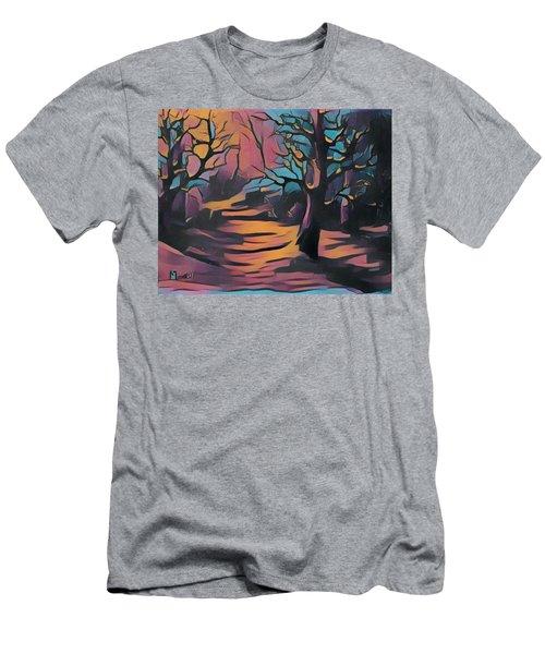 Winter Sunset Digital  Men's T-Shirt (Slim Fit) by Megan Walsh