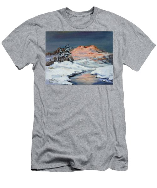 Winter Sunset In The Mountains Men's T-Shirt (Slim Fit)