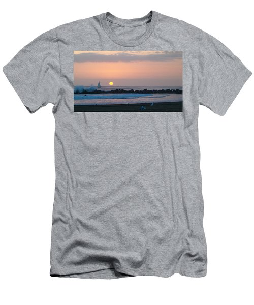 Winter Sunset, Venice Breakwater Men's T-Shirt (Slim Fit) by Mark Barclay