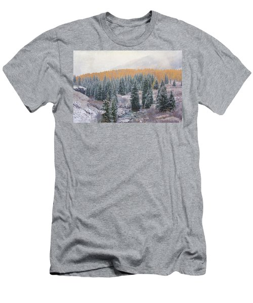 Men's T-Shirt (Slim Fit) featuring the photograph Winter Touches The Mountain by Kristal Kraft