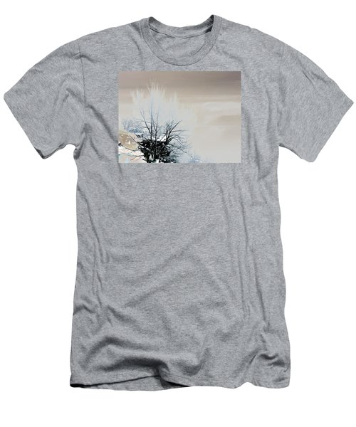 Winter Tree On Mountain Bluff Men's T-Shirt (Slim Fit) by Frank Bright