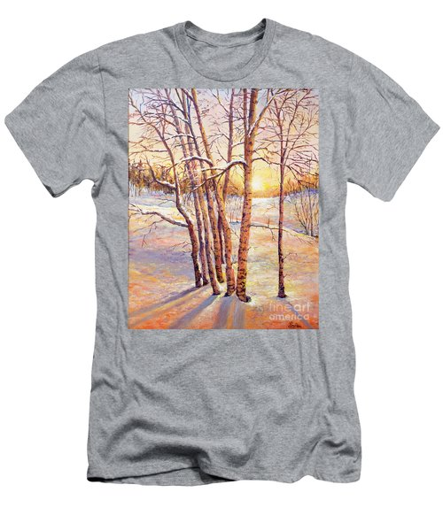 Winter Trees Sunrise Men's T-Shirt (Slim Fit) by Lou Ann Bagnall