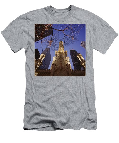 Winter Water Tower Chicago Il Men's T-Shirt (Athletic Fit)