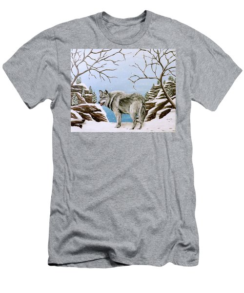 Men's T-Shirt (Slim Fit) featuring the painting Wolf In Winter by Teresa Wing