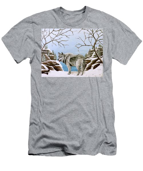 Wolf In Winter Men's T-Shirt (Athletic Fit)