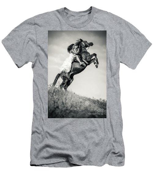 Men's T-Shirt (Athletic Fit) featuring the photograph Woman In Dress Riding Chestnut Black Rearing Stallion by Dimitar Hristov