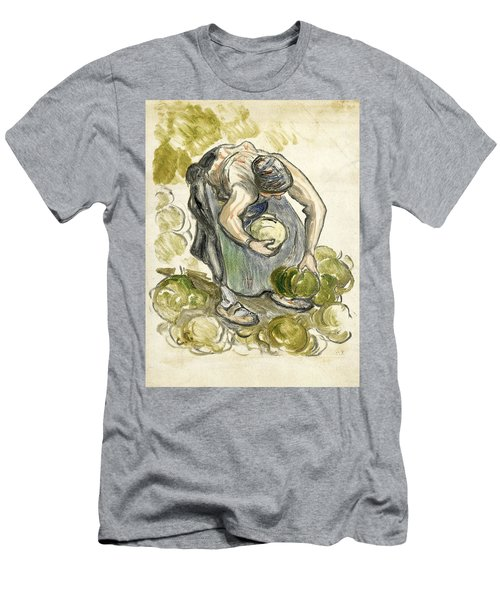 Woman Picking Cabbage Men's T-Shirt (Athletic Fit)
