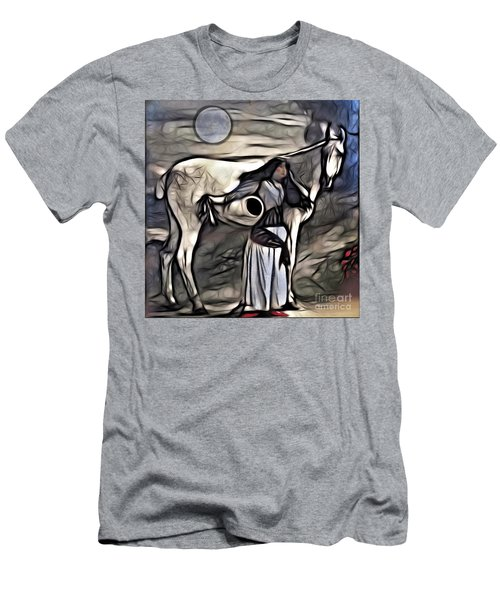 Men's T-Shirt (Slim Fit) featuring the digital art Woman With White Horse by Alexis Rotella