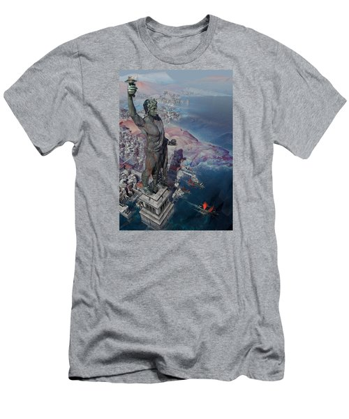 Men's T-Shirt (Slim Fit) featuring the digital art wonders the Colossus of Rhodes by Te Hu