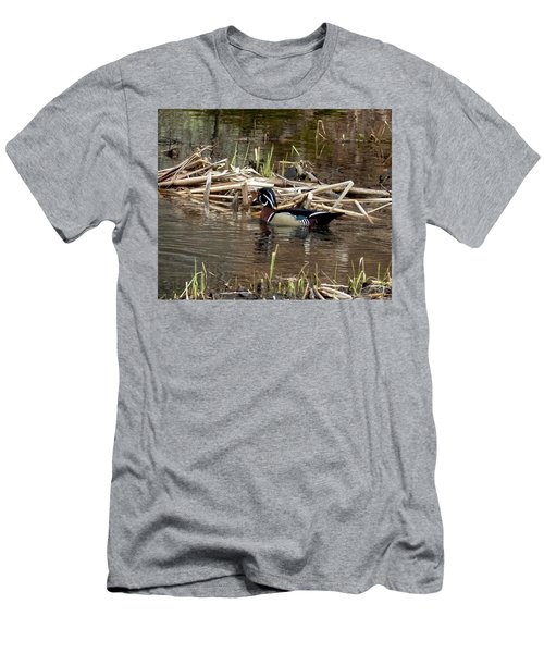 Men's T-Shirt (Athletic Fit) featuring the photograph Wood Duck  by Betty Pauwels