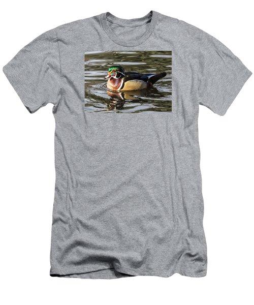 Wood Duck Swimming In Liquid Metal Men's T-Shirt (Slim Fit) by Stephen Johnson