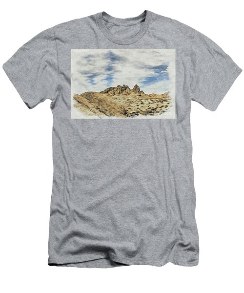 Woodblock Printing Rocks, Mountains And Sky At Alabama Hills, T Men's T-Shirt (Athletic Fit)