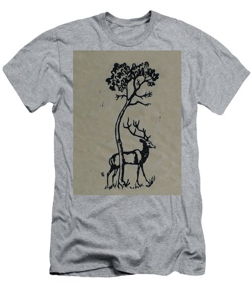 Woodcut Deer Men's T-Shirt (Slim Fit) by Shirley Heyn