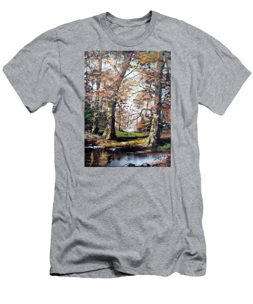 Men's T-Shirt (Slim Fit) featuring the painting Woodland Pond  by Lee Piper