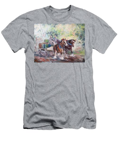 Men's T-Shirt (Athletic Fit) featuring the painting Working Clydesdale Pair, Victoria Breweries. by Ryn Shell