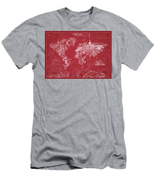 World Map Blueprint 3 Men's T-Shirt (Slim Fit) by Bekim Art