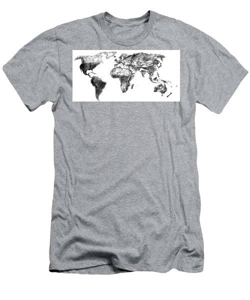 World Map In Graphite Men's T-Shirt (Slim Fit) by Heidi Kriel
