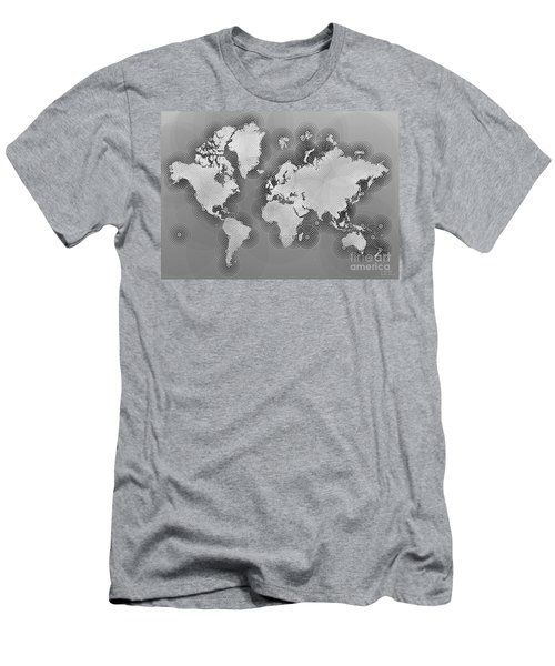 World Map Zona In Black And White Men's T-Shirt (Athletic Fit)