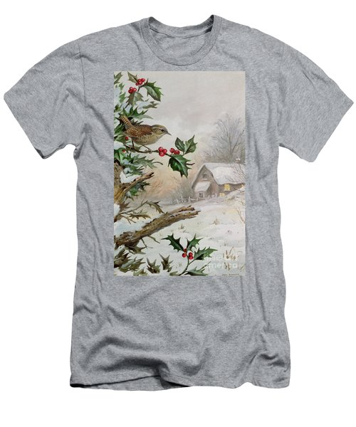 Wren In Hollybush By A Cottage Men's T-Shirt (Slim Fit) by Carl Donner