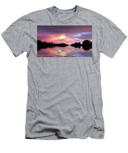 Sunset Swans Men's T-Shirt (Athletic Fit)