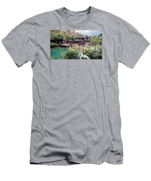Yangtze Village Men's T-Shirt (Slim Fit) by Vicky Tarcau