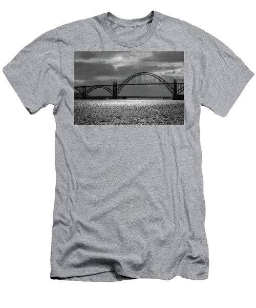 Yaquina Bay Bridge Black And White Men's T-Shirt (Athletic Fit)