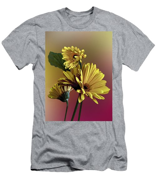 Men's T-Shirt (Slim Fit) featuring the photograph Yellow Daisy Trio by Judy  Johnson