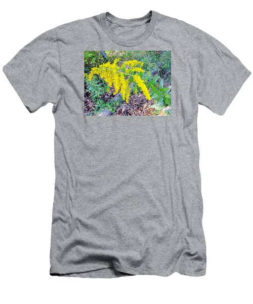 Yellow Flowers On Green Men's T-Shirt (Slim Fit) by Craig Walters