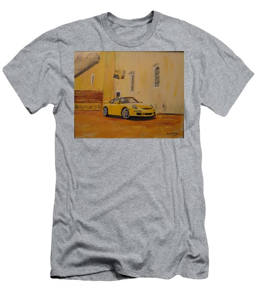 Men's T-Shirt (Athletic Fit) featuring the painting Yellow Gt3 Porsche by Richard Le Page
