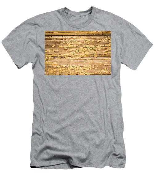 Men's T-Shirt (Slim Fit) featuring the photograph Yellow Painted Aged Wood by John Williams