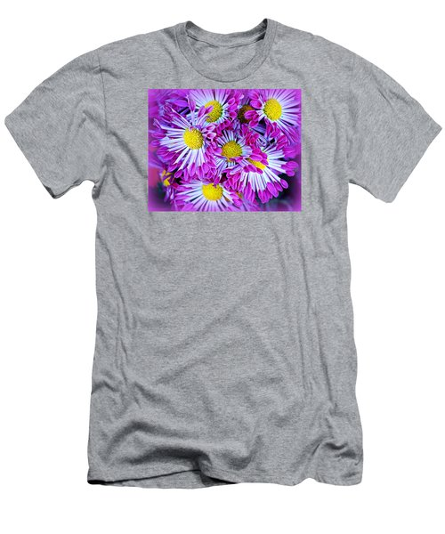 Yellow Purple And White Men's T-Shirt (Slim Fit) by AJ  Schibig