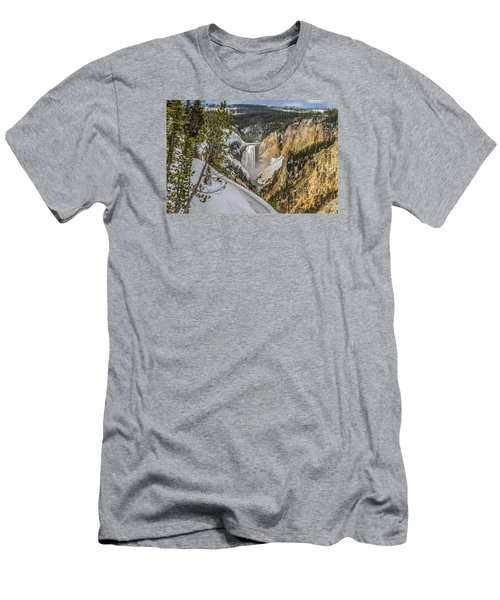 Yellowstone Falls In Winter Snow Men's T-Shirt (Slim Fit) by Yeates Photography