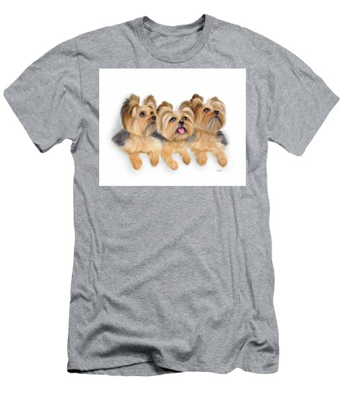 Yorkie Trio Men's T-Shirt (Athletic Fit)