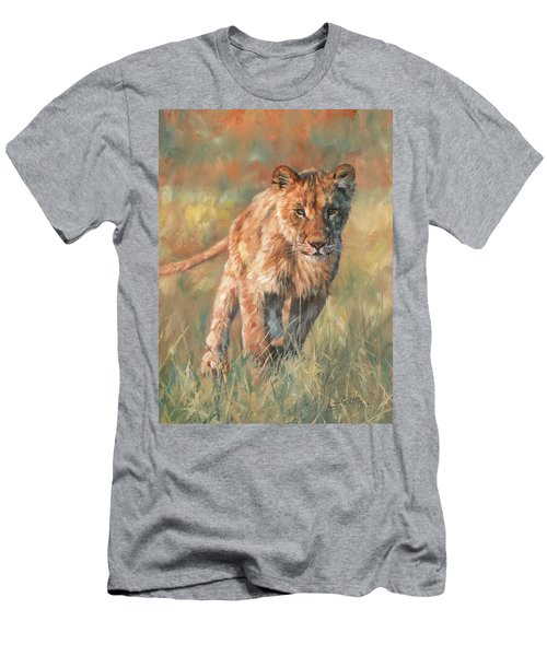 Men's T-Shirt (Slim Fit) featuring the painting Youn Lion by David Stribbling
