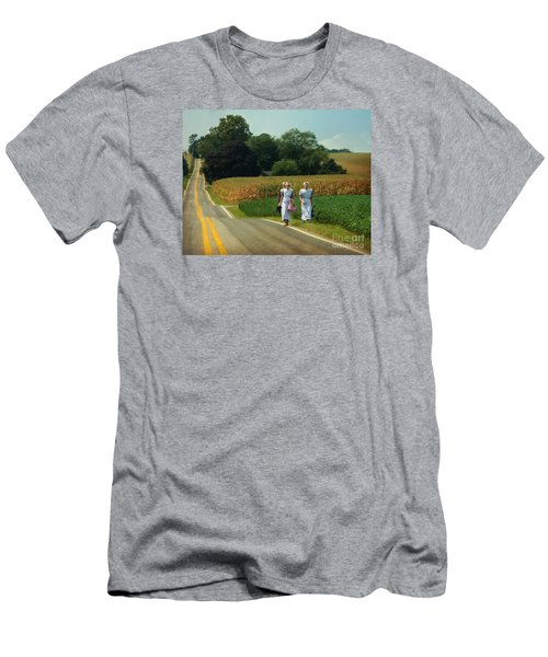 Young Amish Woman Barefoot Stroll Men's T-Shirt (Athletic Fit)