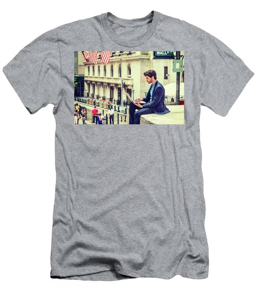 Young Businessman Working On Wall Street In New York Men's T-Shirt (Athletic Fit)