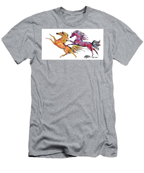Young Horses Playing Men's T-Shirt (Athletic Fit)