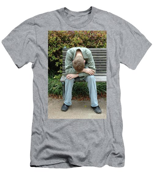 Young Man On Bench Men's T-Shirt (Athletic Fit)