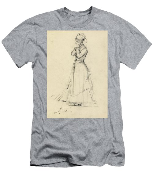Young Woman With A Broom Men's T-Shirt (Athletic Fit)