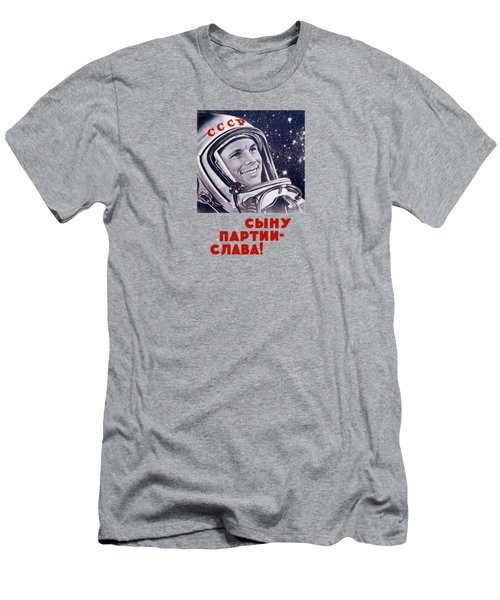 Yuri Gagarin - Soviet Space Propaganda Men's T-Shirt (Slim Fit) by War Is Hell Store