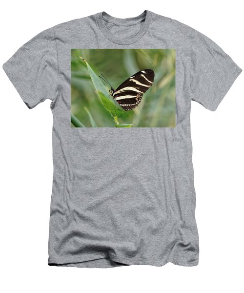 Men's T-Shirt (Athletic Fit) featuring the photograph Zebra Longwing Butterfly - 2 by Paul Gulliver