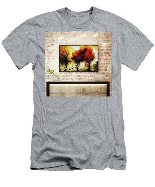 Autumn With Cat Focus Men's T-Shirt (Athletic Fit)