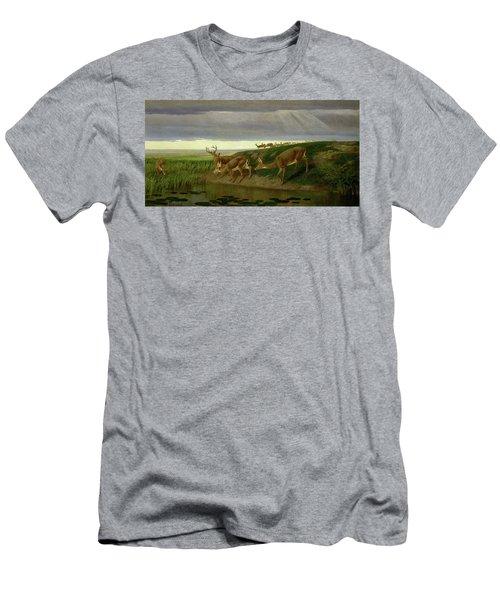 Deer On The Prairie Men's T-Shirt (Athletic Fit)