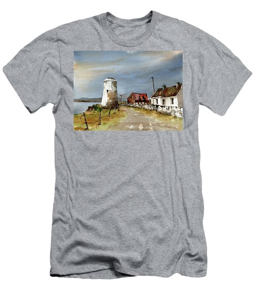 Men's T-Shirt (Athletic Fit) featuring the painting Lighthouse On Inis Boffin, Galway by Val Byrne