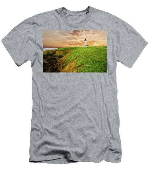 Lighthouse On  Yaquina Head  Men's T-Shirt (Athletic Fit)
