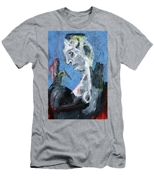 Portrait With A Bird Men's T-Shirt (Athletic Fit)