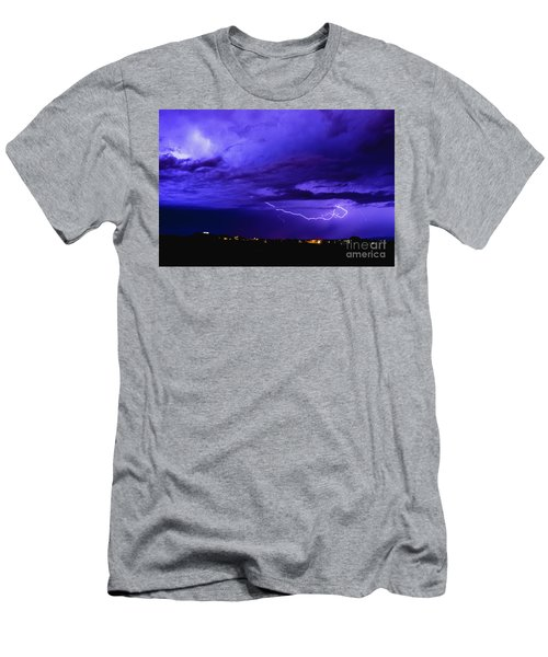 Rays In A Night Storm With Light And Clouds. Men's T-Shirt (Athletic Fit)